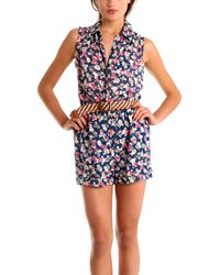 Charlotte Ronson Floral Romper - Lyst