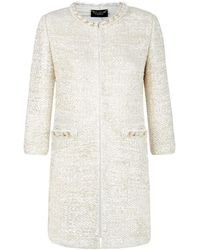 St. John Chain And Feather Trim Jacket - Lyst