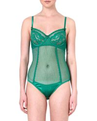 Mimi Holliday Lace and Satin Panel Bodysuit Green - Lyst