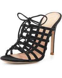 Gianvito Rossi Caged Suede Mule Pump black - Lyst