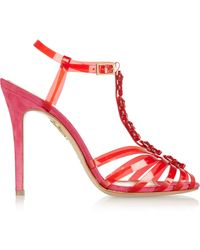 Charlotte Olympia Gummi Bear Pvc And Suede Sandals - Lyst