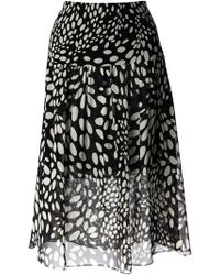 Chloé Black Dotted Skirt - Lyst