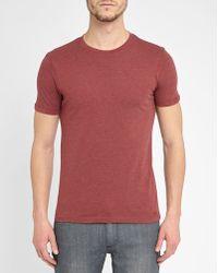 M.studio | Mottled-burgundy Philippe Jersey Round-neck T-shirt | Lyst