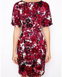 Asos Mini Wiggle Dress in Floral Print - Lyst