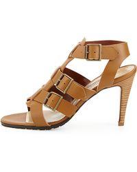 Manolo Blahnik Pidigi Leather Triplebuckle Sandal - Lyst