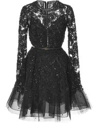 Elie Saab Embroidered Tulle Short Dress - Lyst