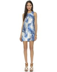 Tory Burch Silk Square Neck Dress - Baltic Sea Feathers - Lyst