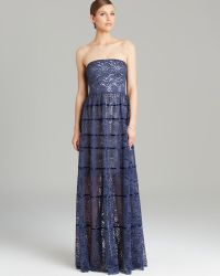 Vera Wang Gown Strapless Lace Piping Detail - Blue