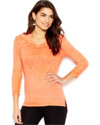 Lucky Brand Jeans Lucky Brand Three-Quarter-Sleeve Scoop-Back Burnout Hooded Tee - Lyst