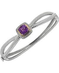 Lord & Taylor - Amethyst, White Topaz, Sterling Silver And 14k Yellow Gold Bangle - Lyst