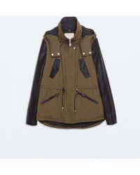 Zara Combined Hooded Parka - Lyst