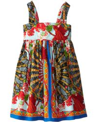 Dolce & Gabbana Strappy Floral Print Poplin Dress (Toddler/Little Kids) - Lyst
