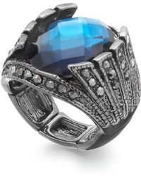 Inc International Concepts Hematite-tone Faceted Blue Stone Cocktail Ring - Lyst