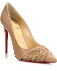 Christian Louboutin | Spiked Leather & Mesh Pumps | Lyst