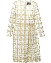Simone Rocha Gold Printed Dress - Lyst