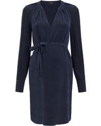 Joseph Long Sleeve Matte Silk Belted Dress - Lyst