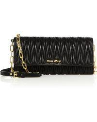 Miu Miu | Matelasse Leather Chain Wallet | Lyst