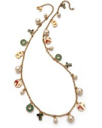 Tory Burch - Theresa Charm Rosary Necklace Multishiny Brass - Lyst