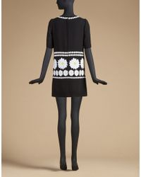 Dolce & Gabbana | Short-sleeved Dress In Wool With Daisy Appliqués | Lyst