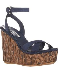 Miu Miu Crisscross-Strap Wedge Sandals - Lyst