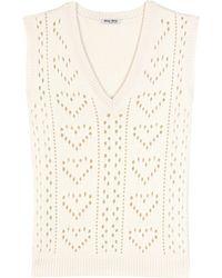 Miu Miu Knitted Cashmere Sweater Vest - Natural