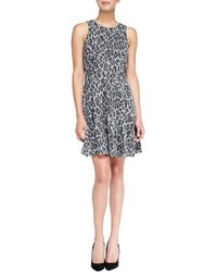 4.collective Pasha Leopard Print Fitandflare Dress Gray Multi Large - Lyst