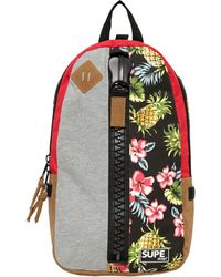 Supe Design - Floral Printed Techno Canvas Backpack - Lyst