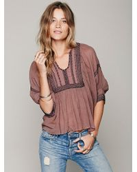 Free People Fp One Embriodered Bib Peasant Top - Lyst