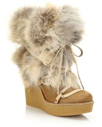 Chloé Fur & Calf Hair Lace-up Platform Wedge Boots - Natural