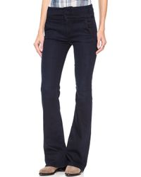 7 For All Mankind High Waisted Wide Leg Trouser Jeans Lilah Blue Black 2 - Lyst
