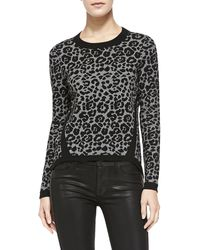 Milly Cheetah Jacquard Pullover - Lyst