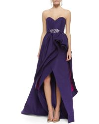 Oscar de la Renta Strapless Tiered Bustle Gown and Crystal Buckle Ribbon Belt - Lyst