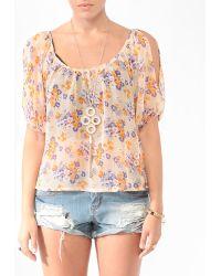 Forever 21 Floral Cutout Shoulder Blouse - Lyst
