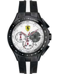 Scuderia Ferrari Men's Chronograph Race Day Black And White Silicone Strap 44mm 830024