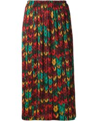 Issey Miyake Printed Pleated Skirt - Lyst