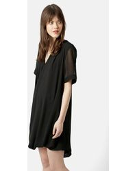 Topshop Drape Front Tunic Dress black - Lyst