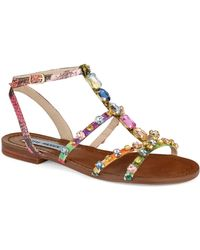 Steve Madden Brown Bjeweled Sandals - Lyst