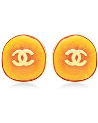 What Goes Around Comes Around Chanel Yellow Stone Round Earrings - Lyst