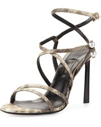 Lanvin Strappy Sandal With Pierced-Pearl Detail - Lyst