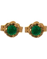 Anna Sheffield - Gold Tiny Emerald Rosette Earrings - Lyst