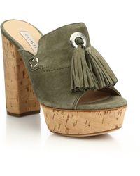 Casadei   Suede & Cork Tasseled Platform Mule Sandals   Lyst