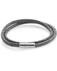 Tateossian Double Wrap Scoubidou Grey Stingray Pattern Bracelet With Silver Clasp - Lyst