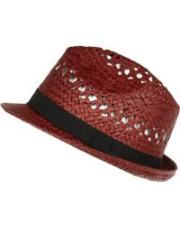 River Island Red Natural Straw Trilby Hat - Lyst