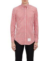 Thom Browne Red Plaid Shirt - Lyst