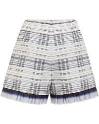 Suno Blue Nubby Stripes Pleated Hem Shorts - Lyst