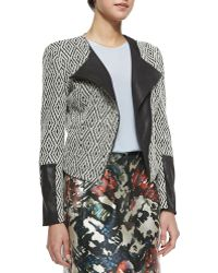 Waverly Grey - Adrienne Zip-front Jacket With Faux-leather Detail - Lyst