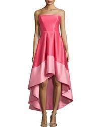 ML Monique Lhuillier Strapless Color-Blocked Cocktail Dress - Lyst