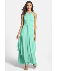 Eliza J Embellished Tiered Chiffon Halter Gown - Lyst
