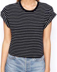 Asos Cropped Boyfriend T-shirt with Roll Sleeve in Stripe - Lyst