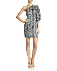 Guess One Shoulder Snake Print Dress - Lyst
